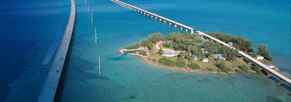 The Seven Mile Bridge and Pigeon Key, just west of Marathon