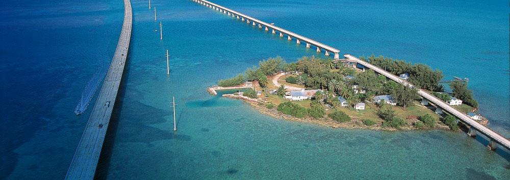 The Seven Mile Bridge and Pigeon Key, just west of Marathon